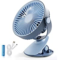 SMARTDEVIL Portable Desk Fan, Lower Noise, USB Rechargeable Battery Operated Fan with 3 Speeds, 2000Mah Battery for Home, Offical, Dormitory,Desktop,Table Fans,360 degree adjustment (Blue)