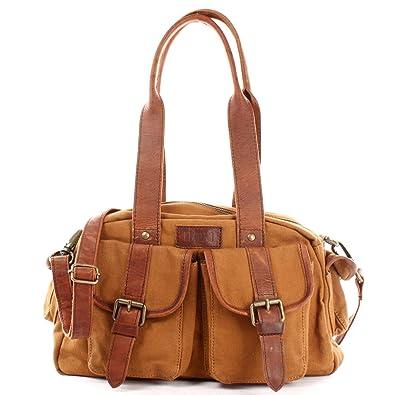 7d29fd5f12b48 LECONI Henkeltasche Frauen Schultertasche Damentasche Vintage-Look Canvas +  Leder Damen Retro Freizeit Mode Handtasche
