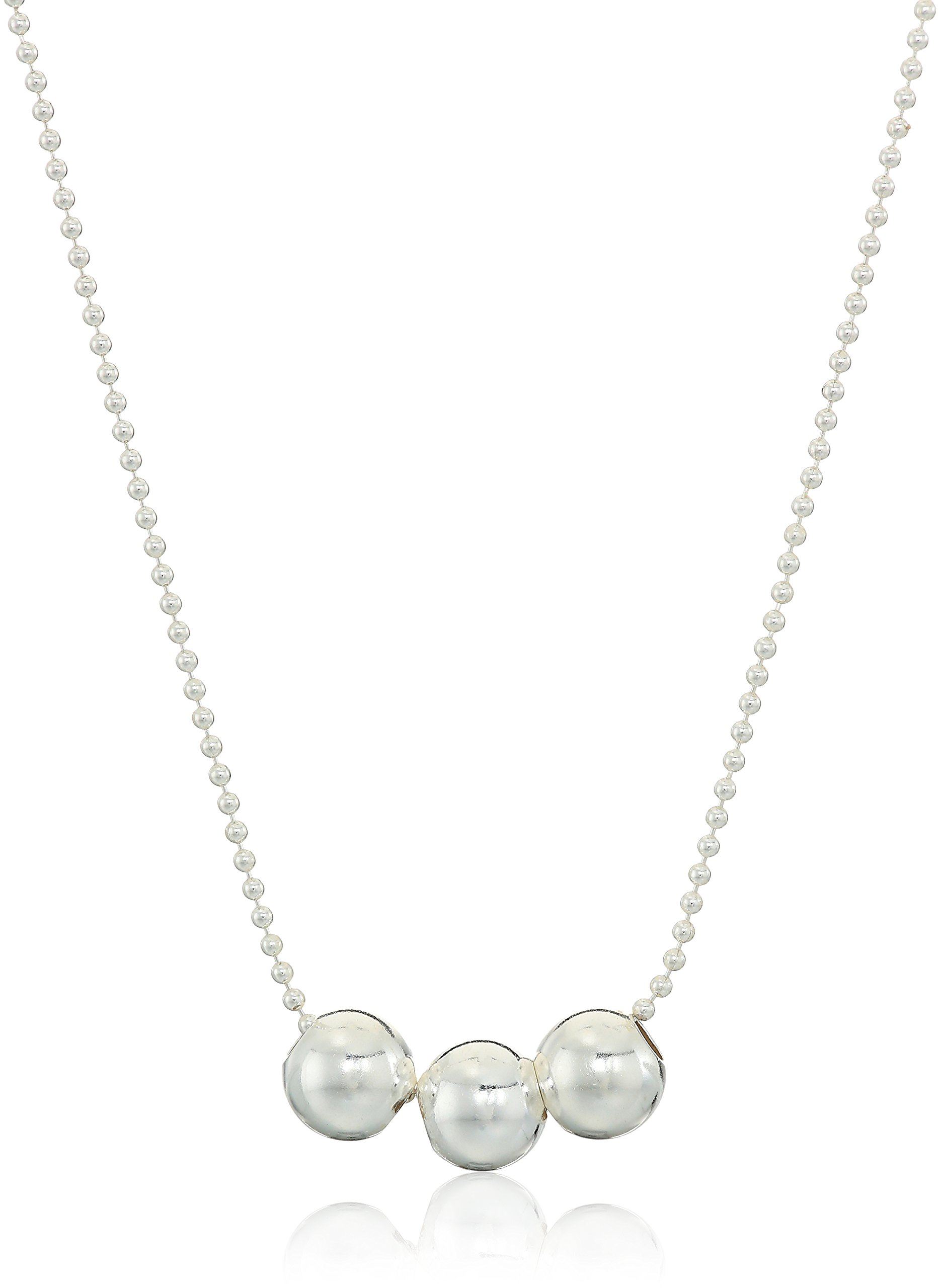 Sterling Silver Necklace with 3 Spacer Beads, 24''