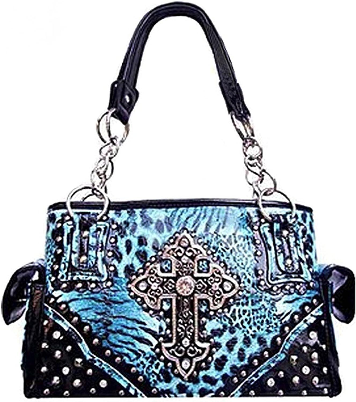 New Fashion Luxury Women Zebra Rhinestone Cross Leather Wallet Purse Bag Handbag