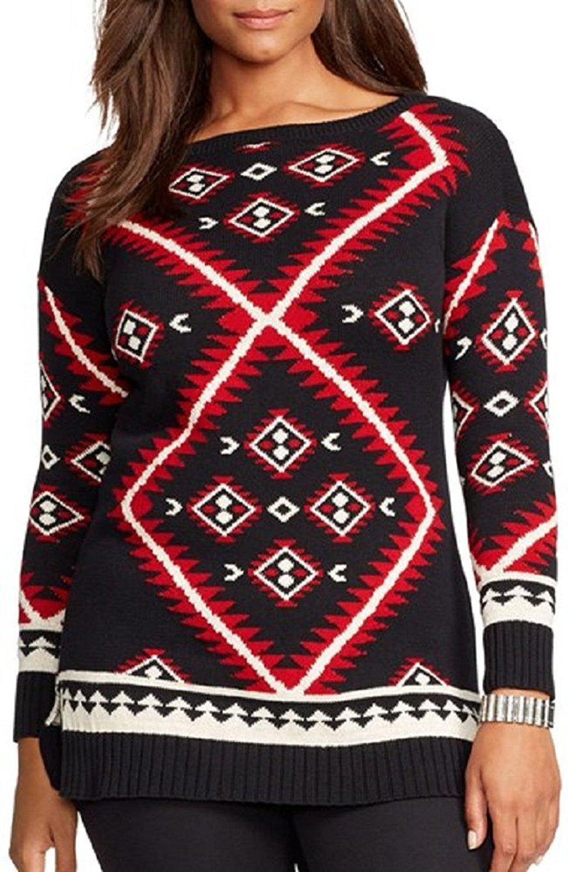 Lauren Ralph Lauren Plus Southwestern Cotton Sweater 3x Multi Color by Lauren by Ralph Lauren