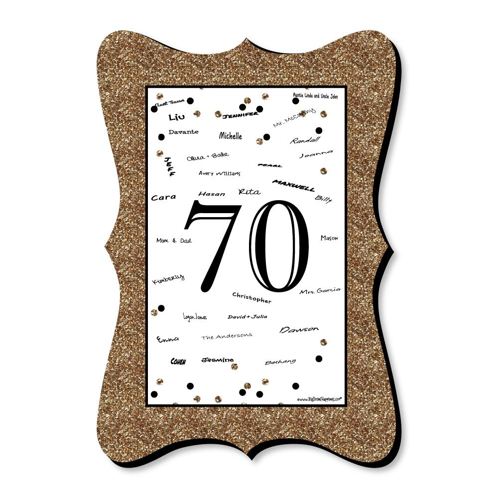 Big Dot of Happiness Adult 70th Birthday - Gold - Unique Alternative Guest Book - Birthday Party Signature Mat