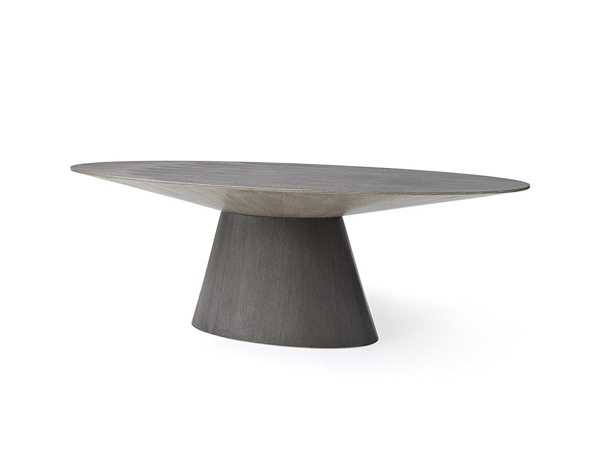 """Modern 95"""" Oval Conference Table in Gray Oak"""