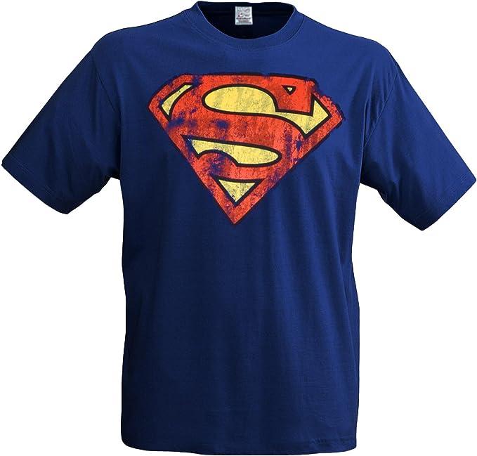 Camiseta con logotipo de Superman, diseño de superhéroes, casual y retro: Amazon.es: Ropa y accesorios