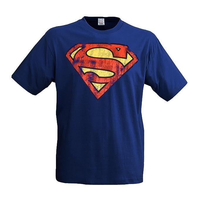 Superman Logo – Camiseta, diseño superhéroes, Comic Held, lässiger Retro Print azul X