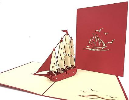 GrandGift - Tarjeta de felicitación con barco velero pop-up 3D ...