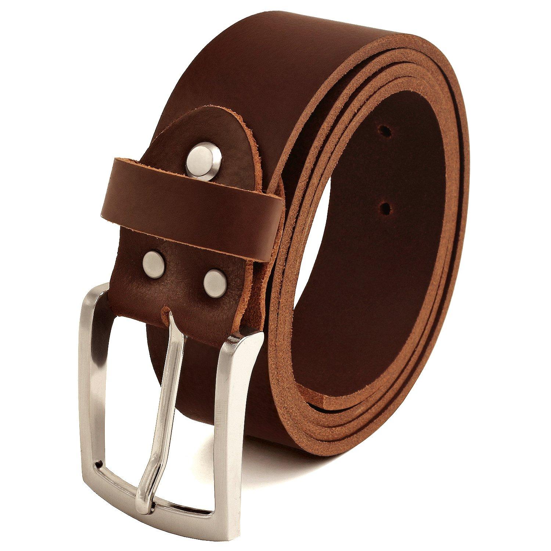 Fa.Volmer Braune Ledergürtel aus Büffelleder, 38mm breit und ca. 3-4mm stark, kürzbar #Br007-02 kürzbar #Br007-02