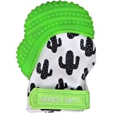 Malarkey Kids Munch Mitt Teething Mitten - The ORIGINAL Mom-Invented Silicone Teether Mitten with Travel Bag – Ideal Teething Toys for Baby Shower Gift  - Green Cactus