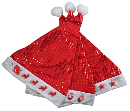 bb9155bd86c17 Image Unavailable. Image not available for. Color  Assorted Christmas Red  Sparkly Sequin Santa Hats ...
