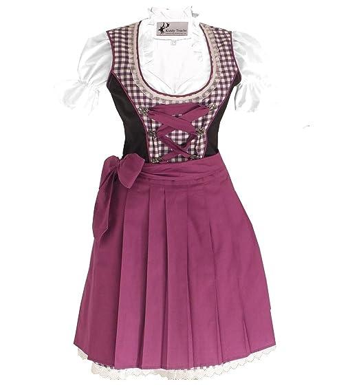 Trachtenkleid 3tlg. Kinder Dirndl Mädchen Kleid Gr. 92,98,104,110,116,122,128,140,146,152