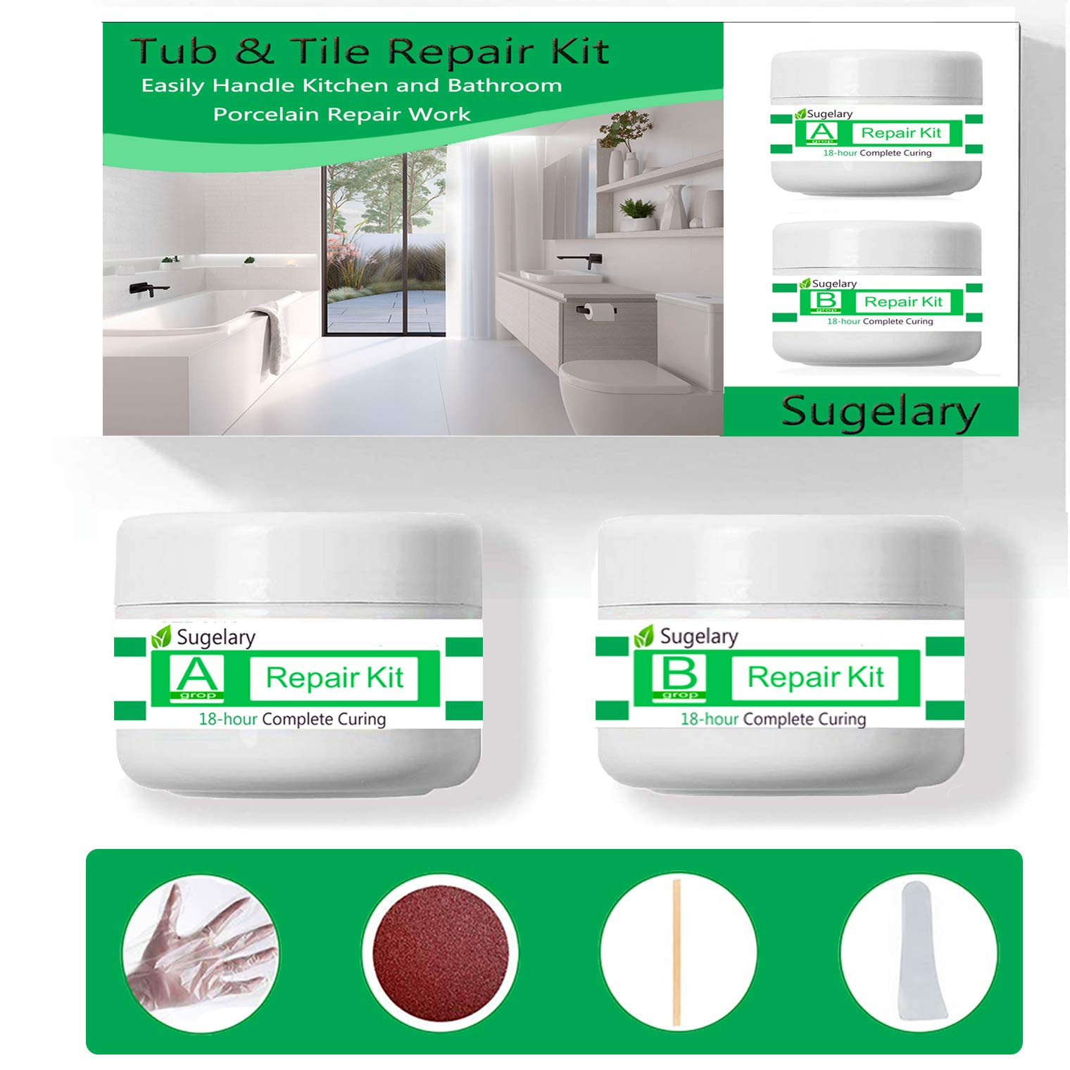 Porcelain Repair Kit, Fiberglass Tub Repair Kit for Shower White Tubs, Tile Ceramic Toilet Stone Chips Scraps Drill Holes Repair, Tub and Tile Refinishing Kit Joint or Installation Adhesive (White)