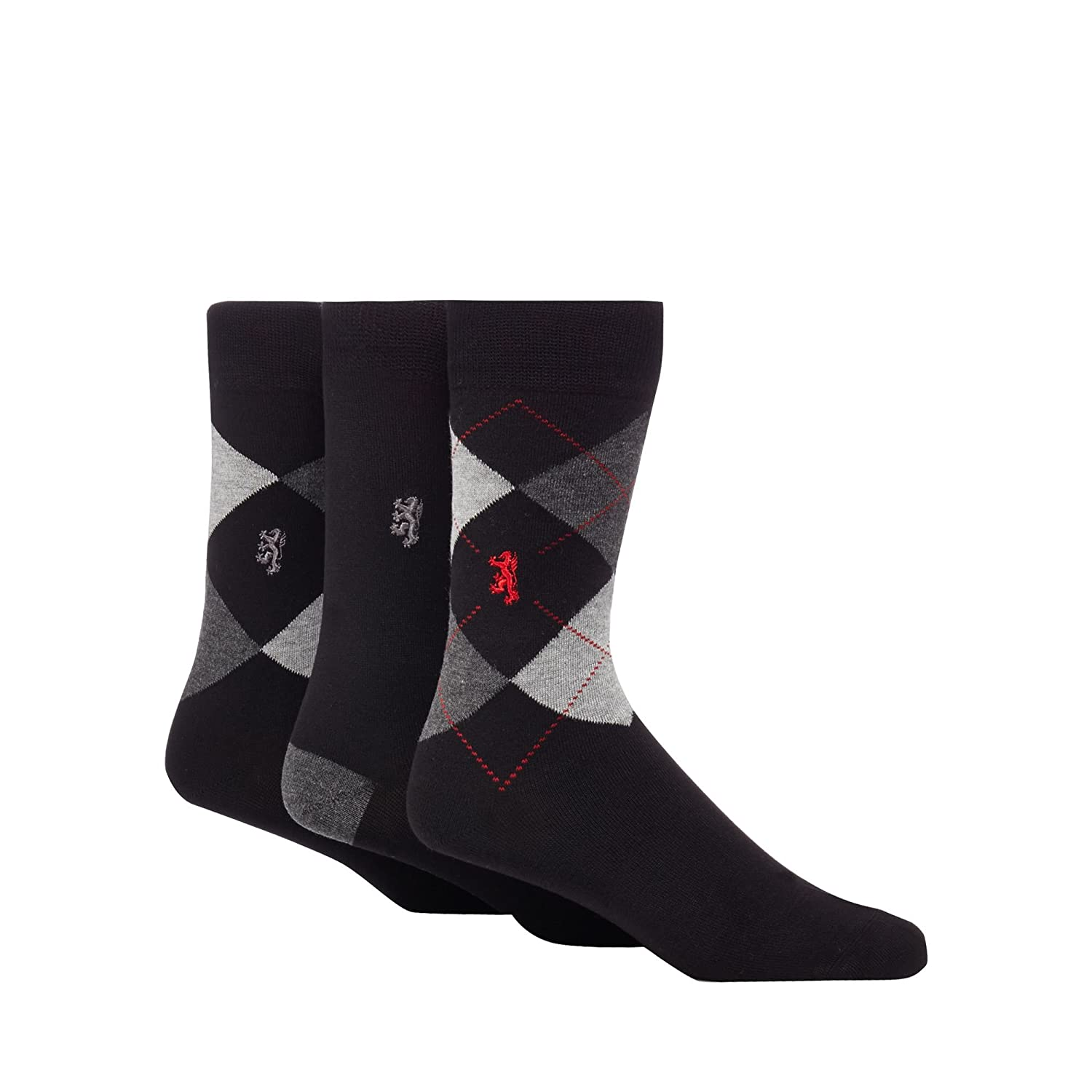 13af6138d1c Pringle Men Pack Of Three Grey Argyle Bamboo Socks S  Debenhams   Amazon.co.uk  Clothing