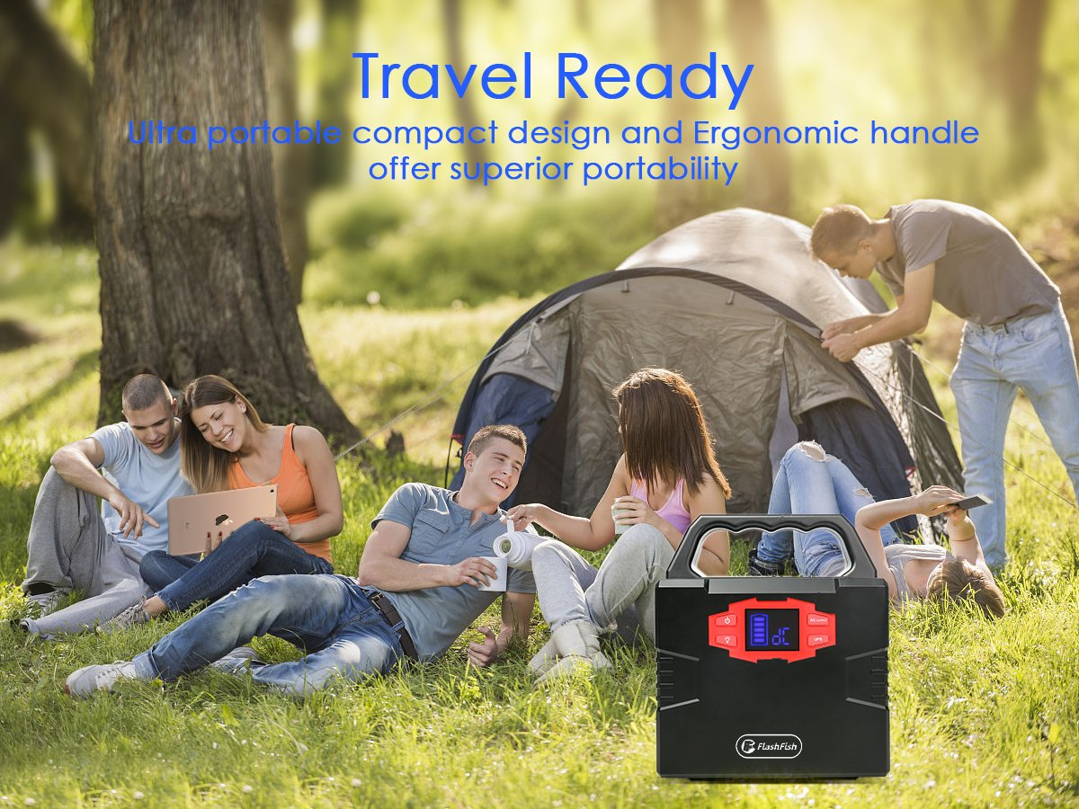 Portable Solar Generator, FlashFish 150Wh Power Station CPAP Battery for Camping, Outdoor Emergency Power Supply Lithium Backup Battery for Drone Camping Fishing, AC 110V Outlet/DC 12V Out/2 USB Ports by FF FLASHFISH (Image #7)