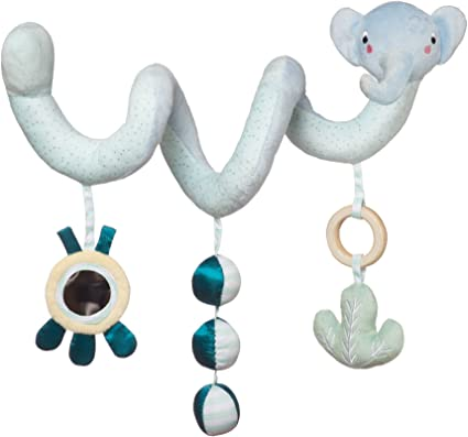 Manhattan Toy Safari Elephant Spiral Stroller and Crib Toy with Baby Mirror Rattle and Teether