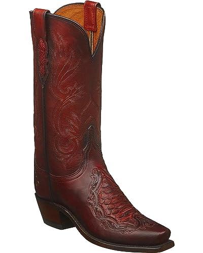 Women's Handmade Beatrice Python Inlay Western Boot Square Toe - N4096.74