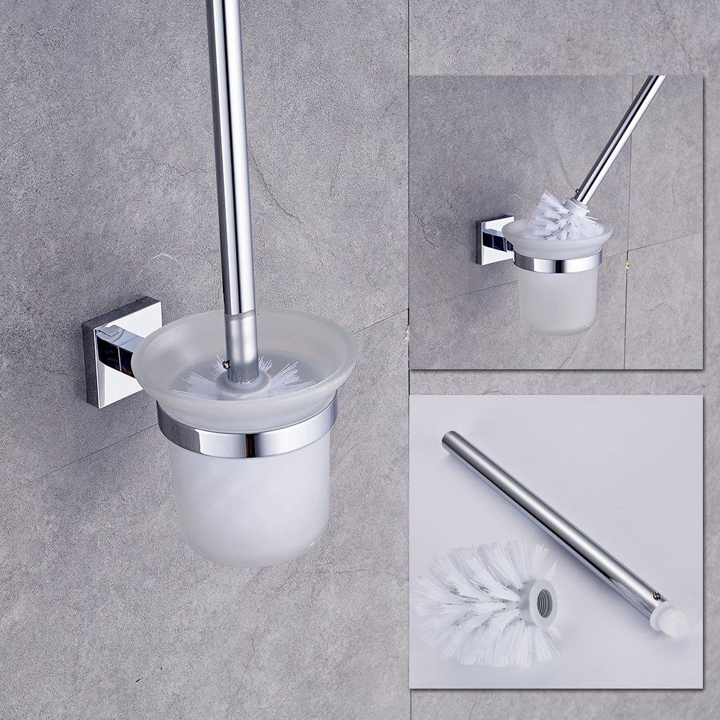Auralum Support porte de Papier avec Brosse Toilette sur Pied de emsenble en L'acier inoxydable YTM