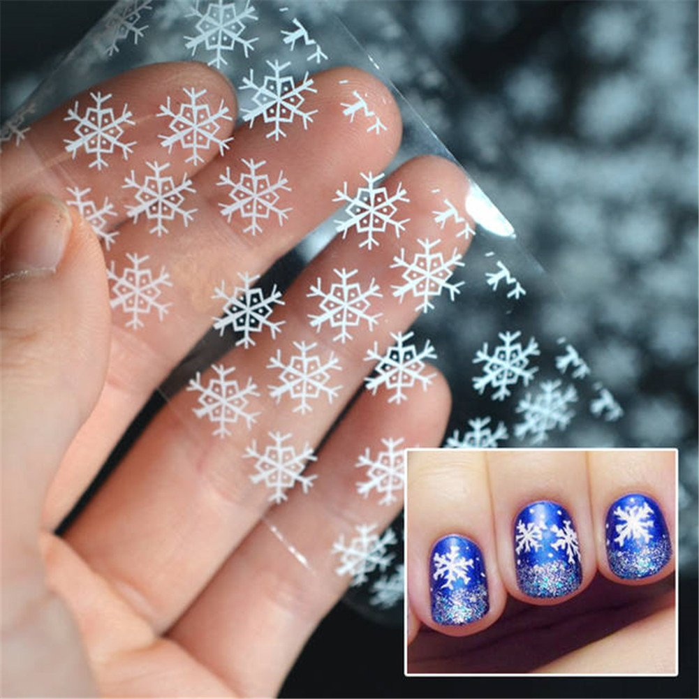 Born Pretty 1pc White Snowflake Nail Foils Clear Nail Foils Christmas Nail Art Transfer Foils #23953