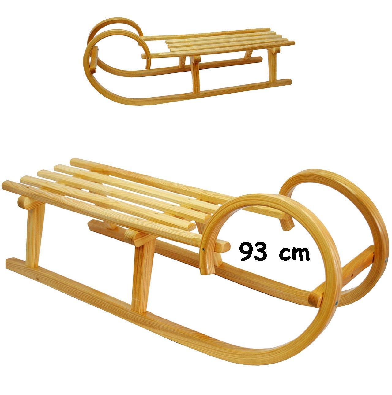 großer Holzschlitten / Hörnerschlitten - 93 cm lang - aus stabilen Holz - für Kinder & Erwachsene - universal passend - Lattensitz Schlitten - Kinderschlitten / Erwachsenenschlitten- Davoser - Davos / Babyschlitten Hörnerrodel - Rodelschlitten / Rodel