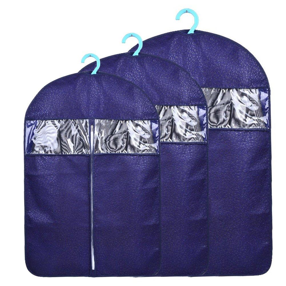 Yiuswoy 3 Stück Kleiderschutzhüllen Vliesstoff Kleidersack Kleiderhüllen mit Reißverschluss Kleidung Lagerung Hängetasche - Dunkelblau