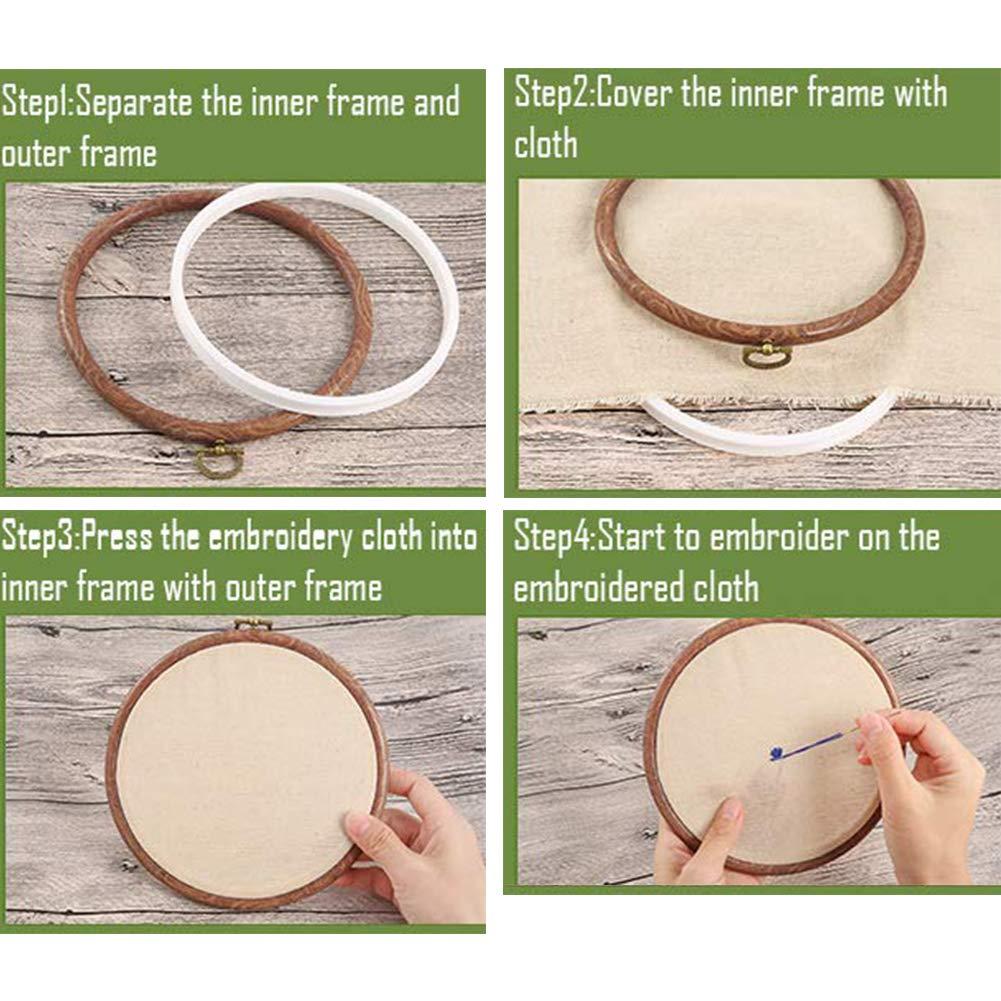 Stickrahmen 5 verschiedene Gr/ö/ßen Kreuzstich-Stickerei-Ring-Ring-Set aus Gummi-Kunststoff Kreis-Set f/ür DIY-Handwerk verstellbarer Stickrahmen Gro/ßhandel f/ür handliches N/ähen Oval