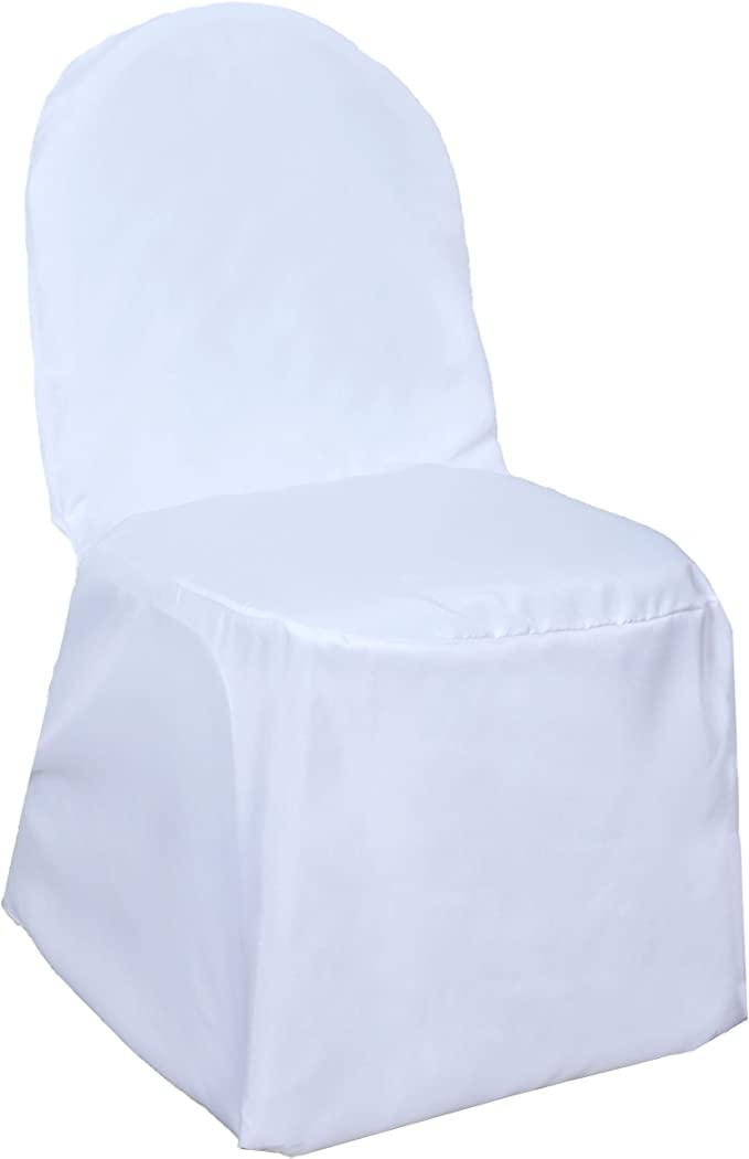 BalsaCircle 50 pcs White Polyester Banquet Chair Covers for Party Wedding Linens Decorations Dinning Ceremony Reception Supplies