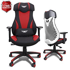 Acethrone PC Gaming Chair Ergonomic Office Chair Desk Chair with Lift Headrest and Armrests, Flexible Adjustable Height and Reclining Device (Red)