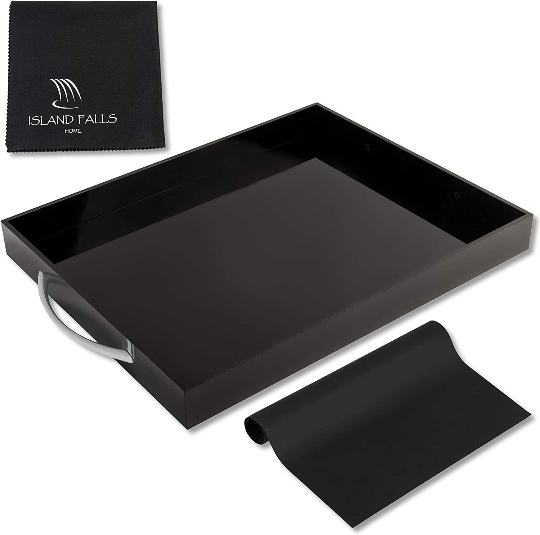 Island Falls Home Black Acrylic Tray - 15x12 Inch Premium Rectangular Black Serving Tray with handles. Incl Non Slip Mat & Microfiber Cloth. Brushed Silver Handles. Acrylic Serving Tray & Drink Tray