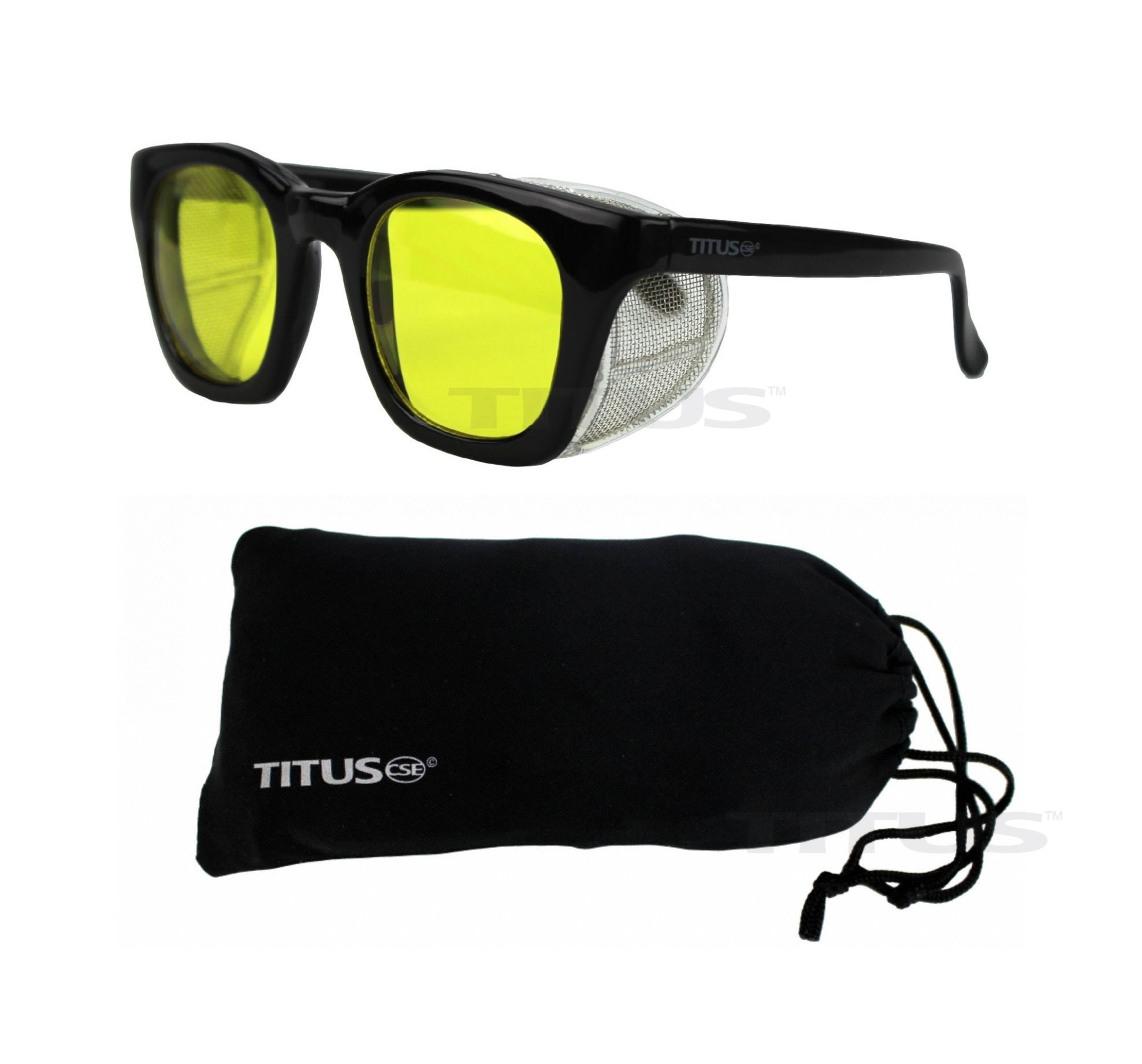 Retro Style Safety Glasses with Side Shield (With Pouch, Yellow Lens - Gloss Frame)