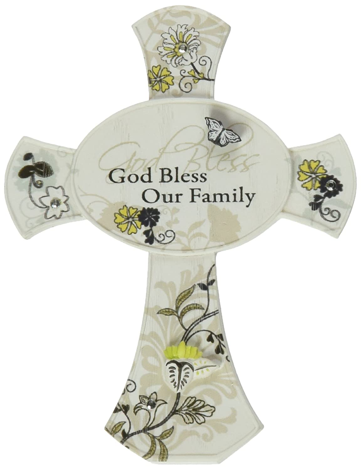 Mark My Words God Bless Our Family Cross, 3-1/2-Inch Tall, Self Standing Pavilion Gift Company 66236