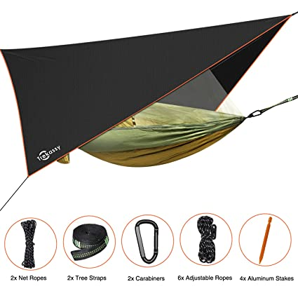 Outdoor Furniture Smart 3 In 1 Waterproof Rain Tarp Can Be Used As A Mat Easy To Set Mosquito Net Portable Double Person Hammock In One Package Sale Price Hammocks