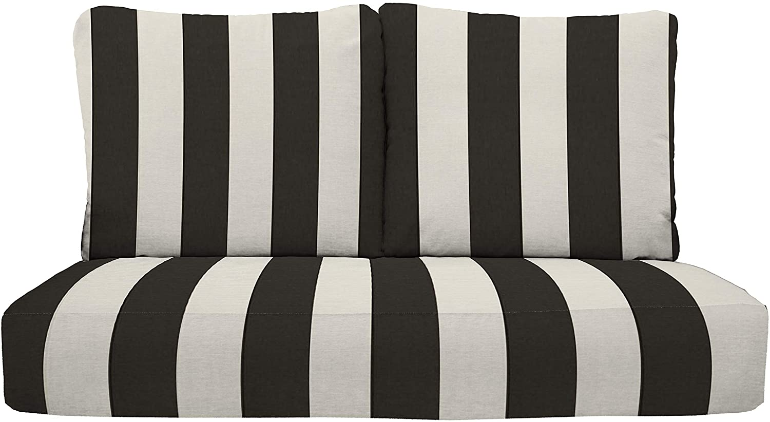 """RSH Décor Indoor Outdoor Deep Seating Loveseat Cushion Set, 1- 46"""" x 26"""" x 5"""" Seat and 2- 25"""" x 21"""" Backs, Choose Color (Black and White Stripe)"""