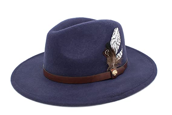 5c5527efe0 Fenside Country Clothing FD002 - Ladies Wool Felt Fedora with Feather Trim ( Navy)  Amazon.co.uk  Clothing