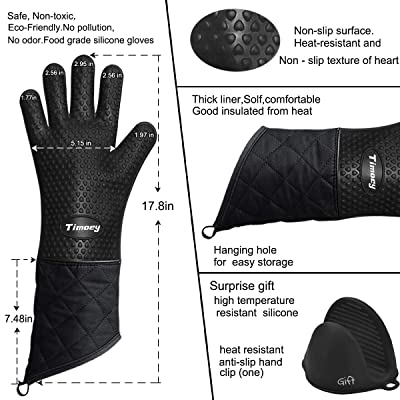 Silicone Glove Microwave Oven Mitts Anti-slip Heat Resistant Kitchen Hand Clip