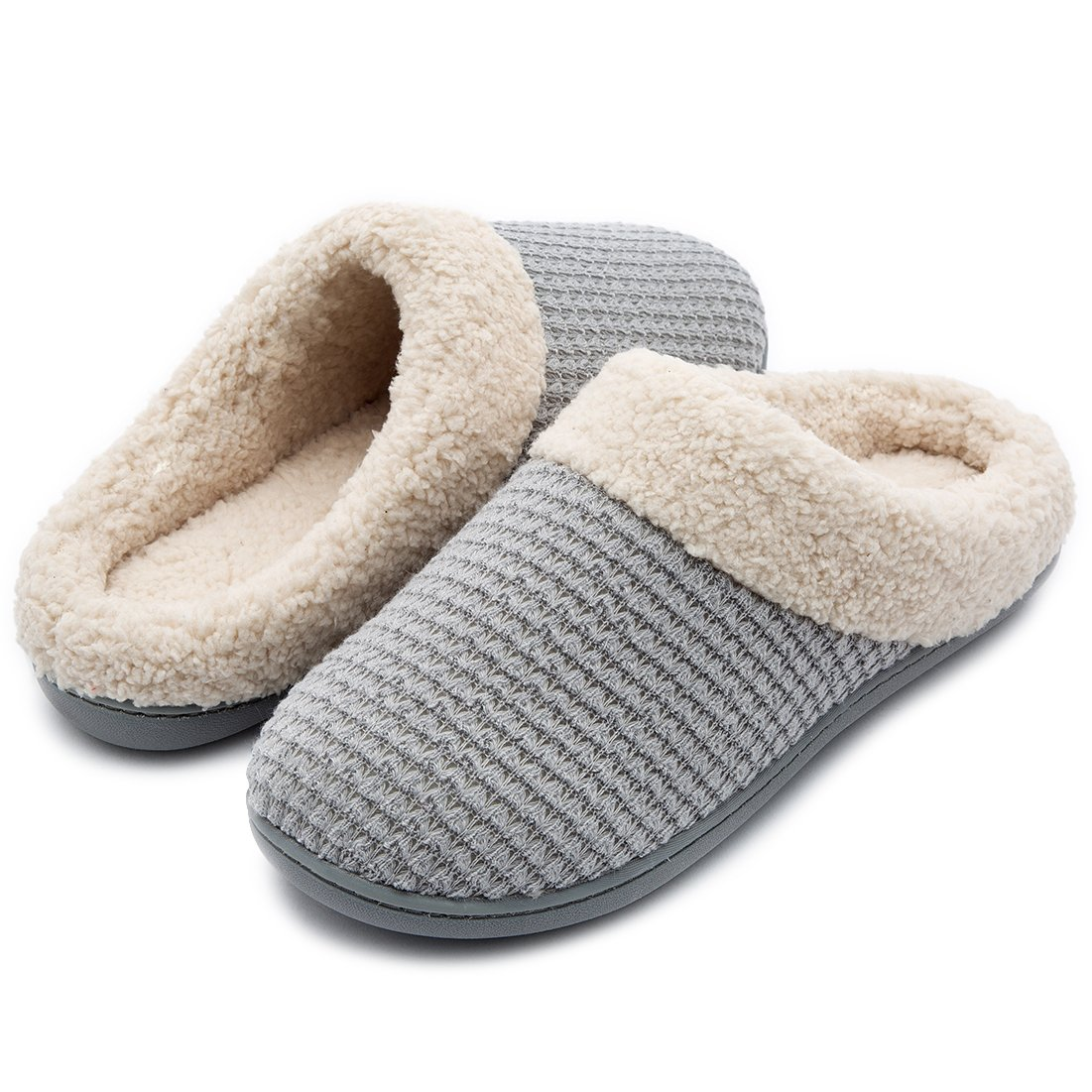 aaa72345120c Womens Comfort Coral Fleece Memory Foam Slippers Fuzzy Plush Lining Slip-on Clog  House Shoes
