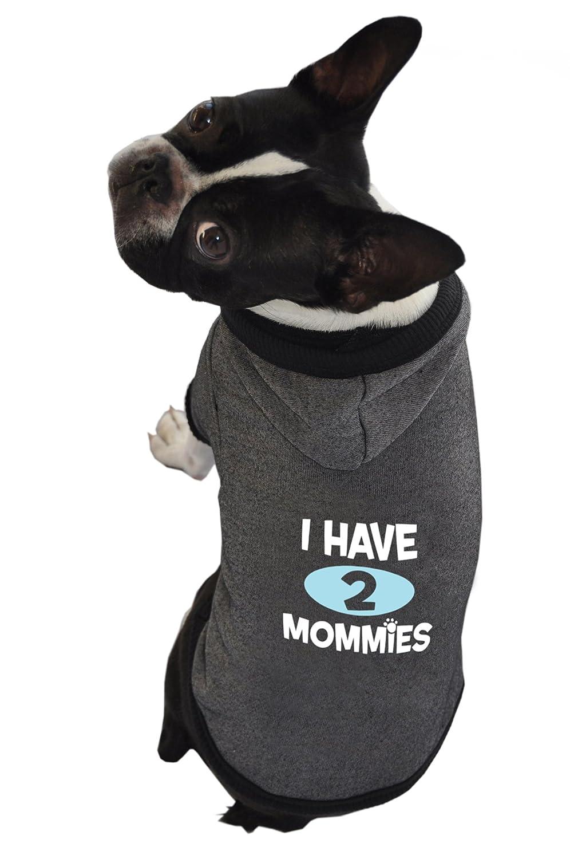 Ruff Ruff and Meow Medium Dog Hoodie, I Have 2 Mommies, Black