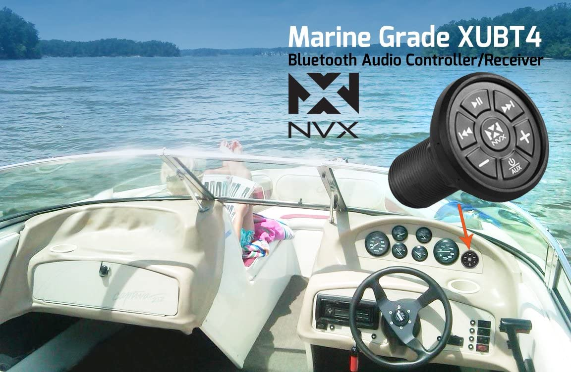 NVX Universal Bluetooth Audio Receiver ATVs Trucks X-Series Controller Knob for Cars Boats Motorcycles XUBT3