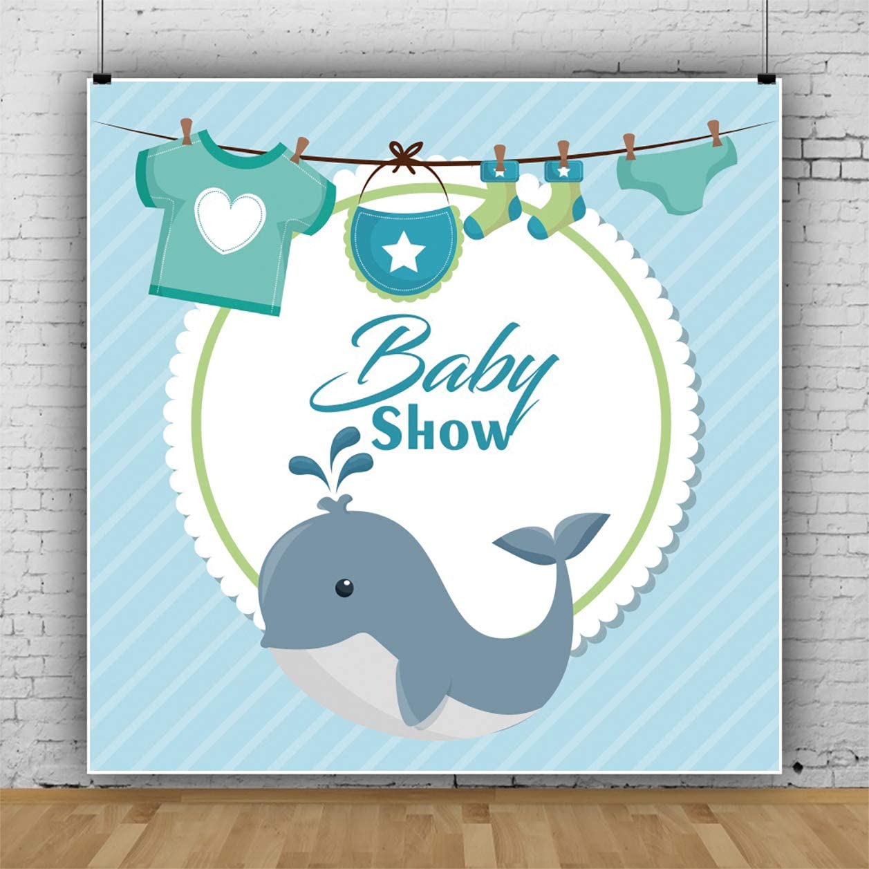 YEELE Cute Whale Backdrop Boy Baby Shower Photography Background Little Prince Photo Booth Banner Infant New Birth Baby Portrait Cake Smash Photoshoot Props Wallpaper 10x10ft