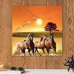 لوحة عشاق الخيول خشب ام دي اف مقاس 30x30 سنتيمتر