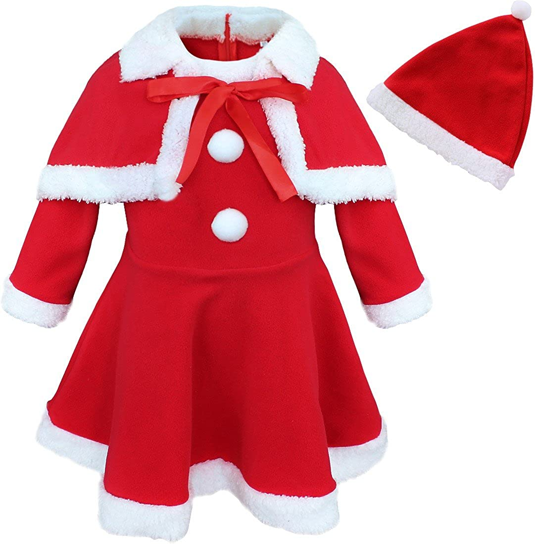 5 Y BABY GIRL LITTLE SANTA DRESS HAT CHRISTMAS RED FANCY OUTFIT COSTUME 6 M