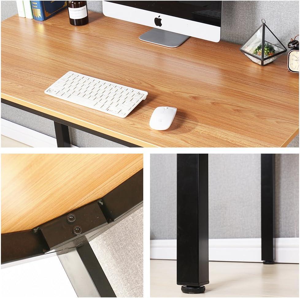 Teak /& Nero AC3TB-140-SF sogesfurniture Scrivanie 138x55cm Tavolo per Computer Ufficio Postazioni di Lavoro Scrivania PC Tavolo da Pranzo Moderno in Acciaio Legno