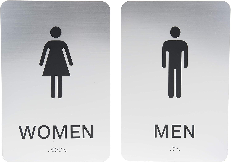 Non-Accessible/Wheelchair Men & Women ADA Restroom (Bathroom) Sign Set w/Braille - Silver