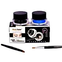 Music Flower Smudge Proof and Waterproof Long Wear Gel Eyeliner with 2 Expert Eyeliner-Brushes (Black and Blue)