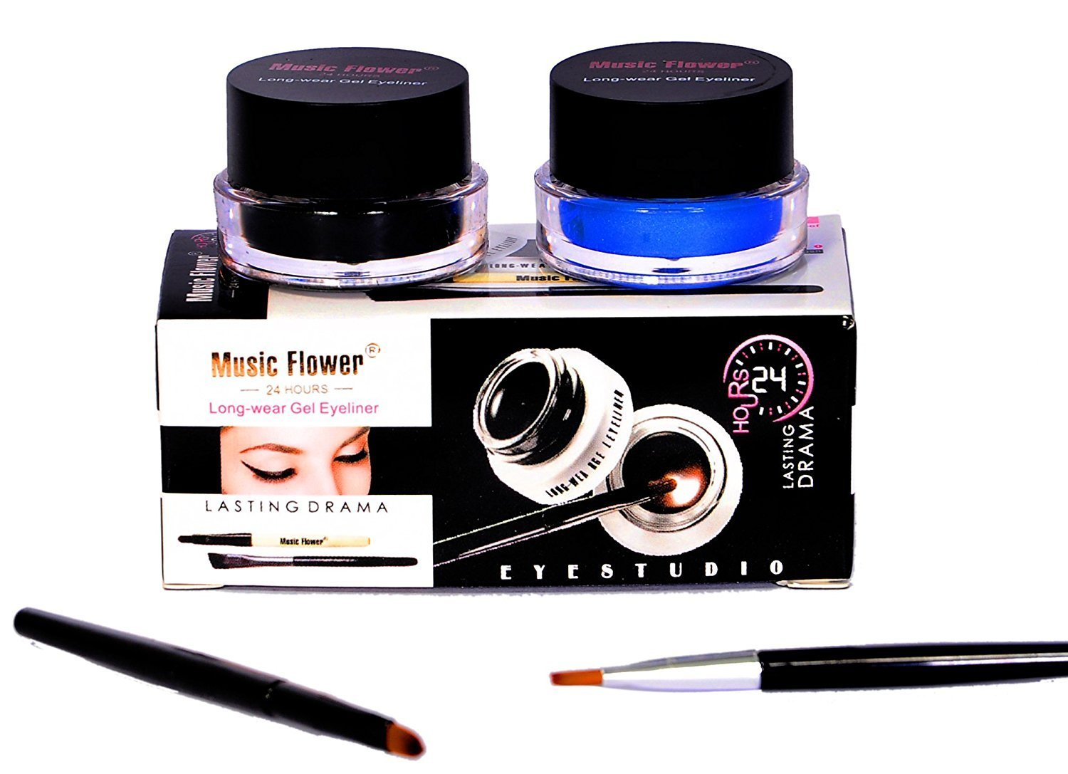 Music Flower Smudge Proof and Waterproof Long Wear Gel Eyeliner with 2 Expert Eyeliner-Brushes (Black and Blue) product image
