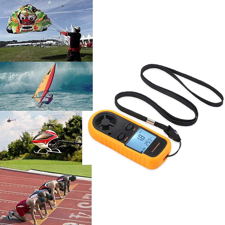 Digital Handy Luftstrom Geschwindigkeitsmessung Thermometer Anemometer LCD Windgeschwindigkeitsmesser Ger/ät f/ür Surfen//Kite//Fliegen//Segeln//Surfen//Angeln