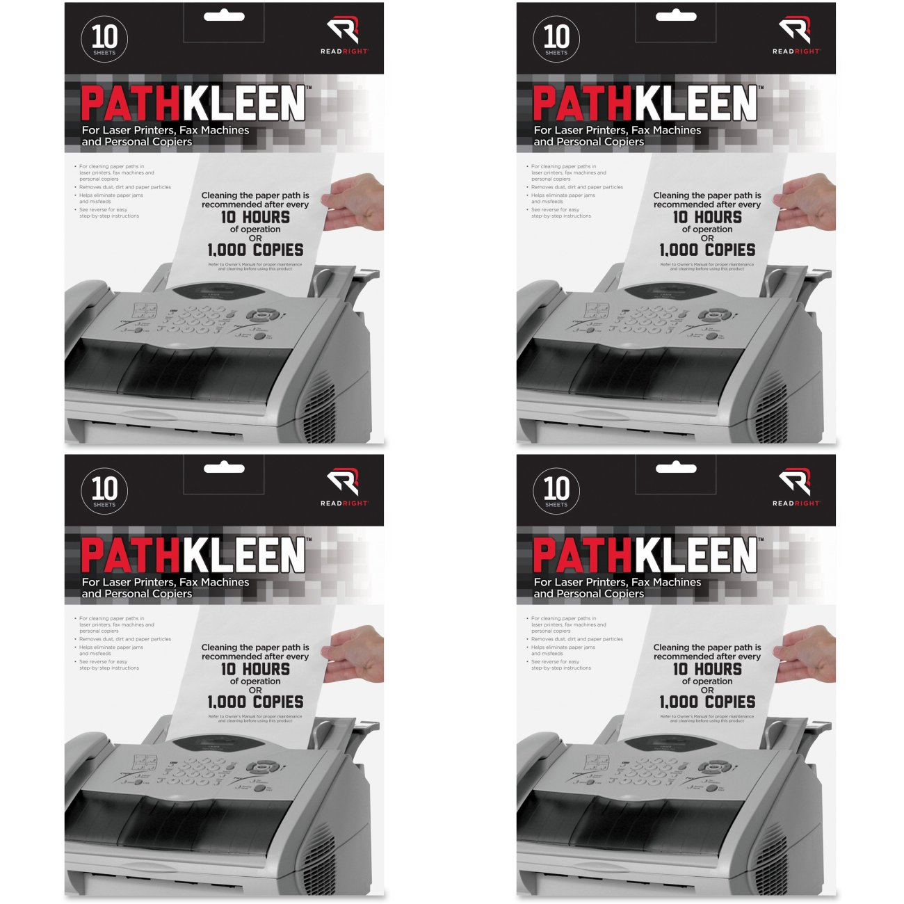 Read Right PathKleen Laser Printer Cleaning Sheets, 8.5 x 11 Inches Sheets, 10 Sheets per Package (RR1237), 4 Packs