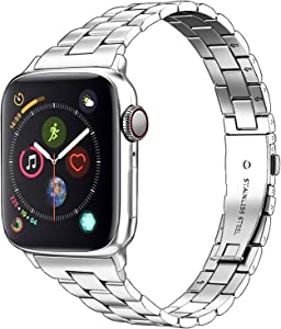Aizilasa Stainless Steel Band Compatible with Apple Watch Band 40mm 44mm Series 5/4 and 38mm 42mm Series 3/2/1 for Women Men, Replacement for iWatch Bands Wristbands Strap (Silver, 38mm/40mm)