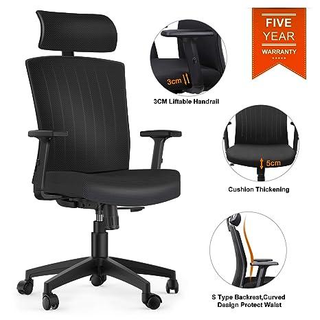 Amazon.com: Komene Silla de oficina ergonómica con respaldo ...