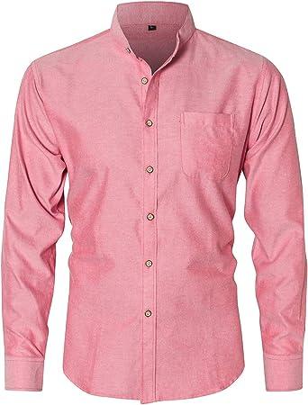 JEETOO B4088 – Oxford Camisa fácil de Planchar Modelo Slim Fit Cuello Alto: Amazon.es: Ropa y accesorios
