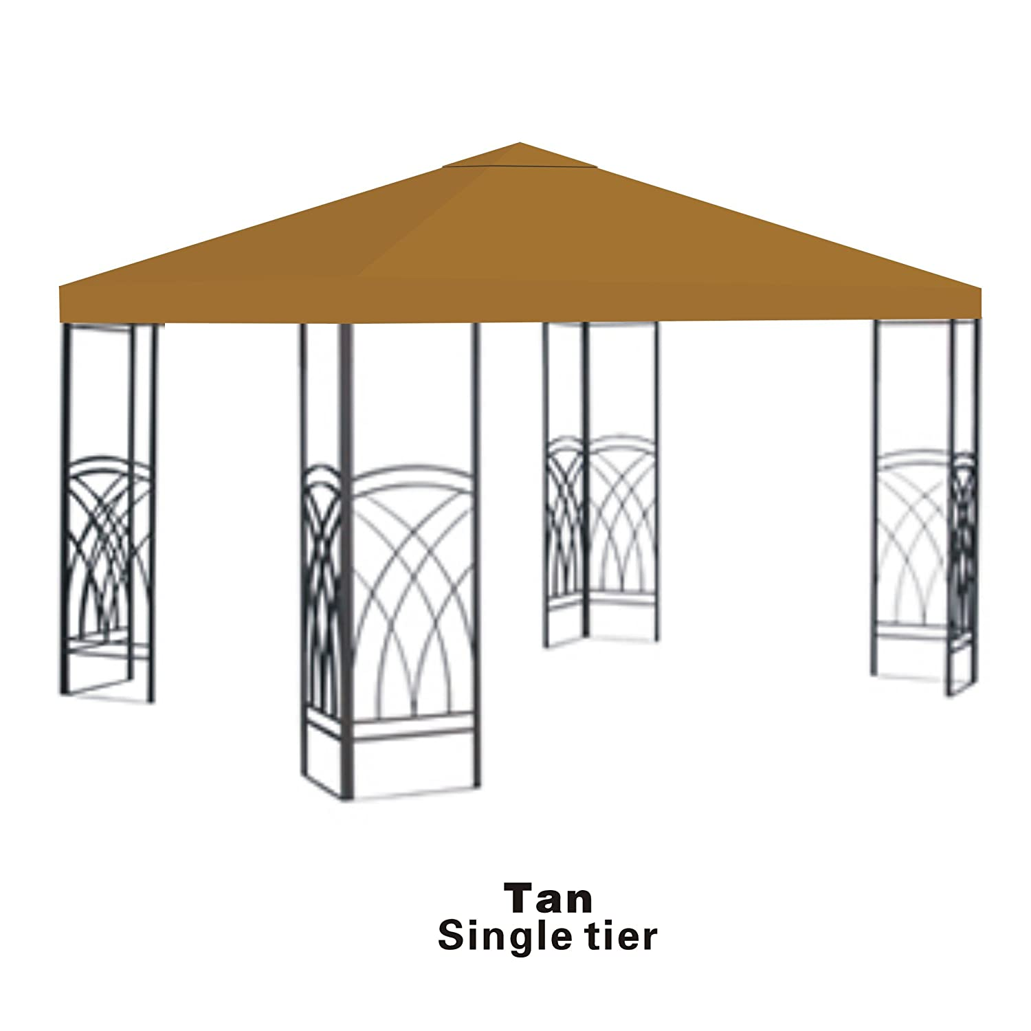 finest selection 7506f e529c Strong Camel Replacement 10'X10'gazebo canopy top patio pavilion cover  sunshade plyester single tier-tan