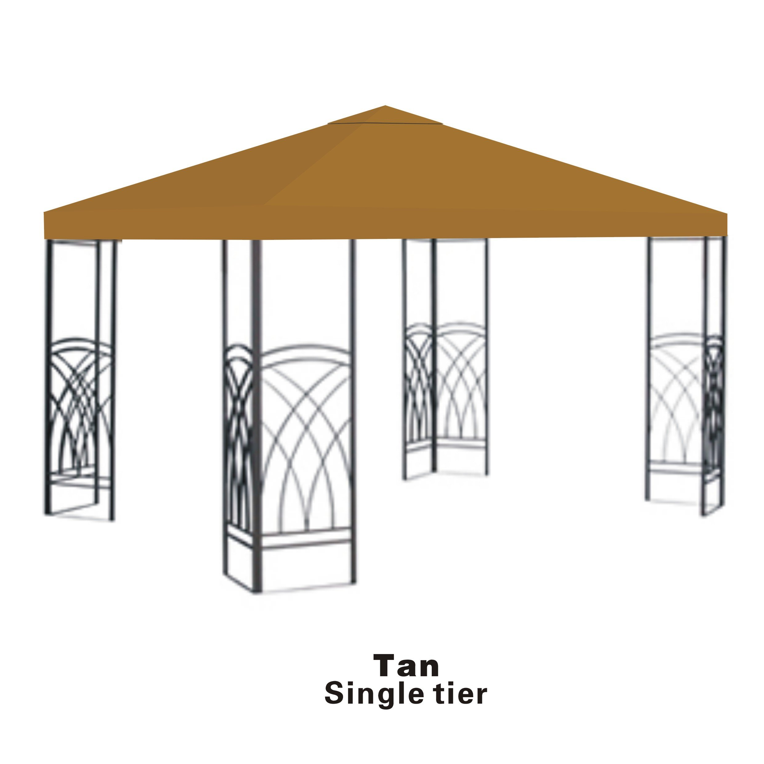 STRONG CAMEL Replacement 10'X10'gazebo canopy top patio pavilion cover sunshade plyester single tier-tan by Strong Camel